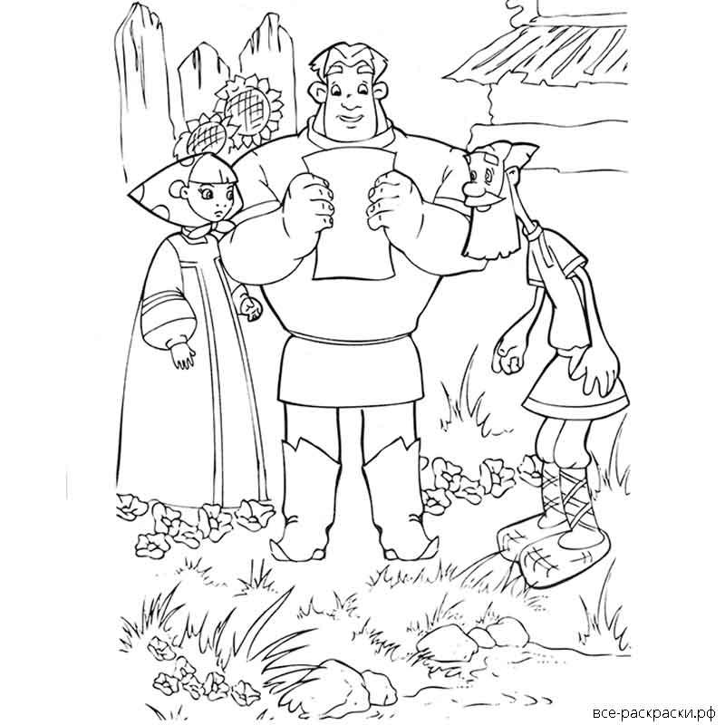 этот картинки три богатыря и их жены карандашом это