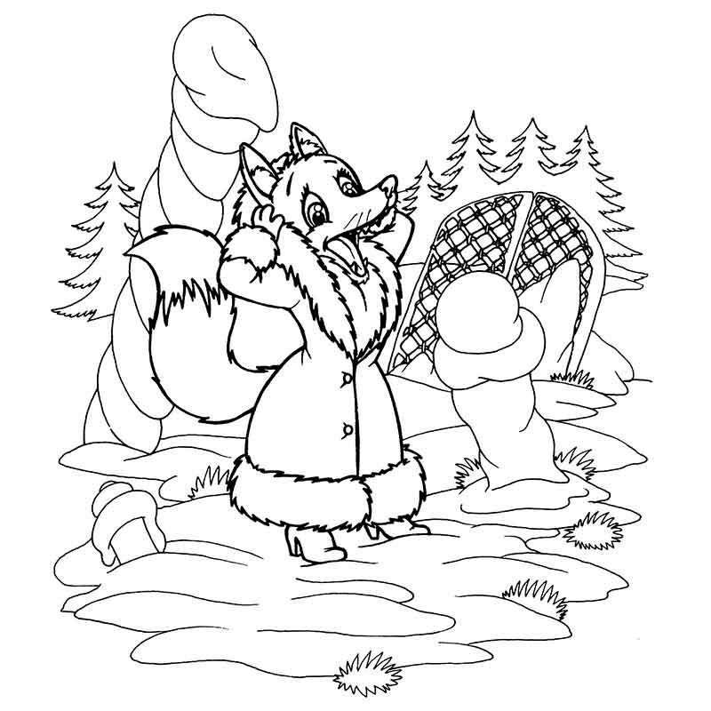 Лиса и заяц раскраска распечатать