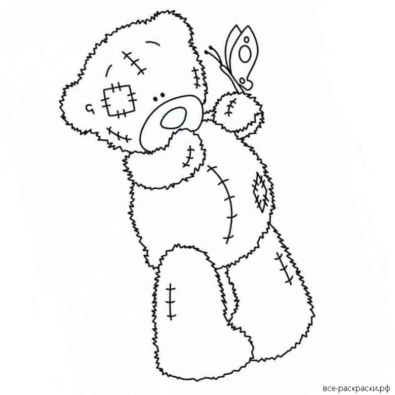 мишка тедди с шариками раскраска передней