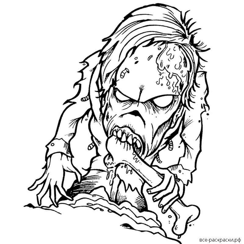 Картинки для раскрашивания зомби реалистичные